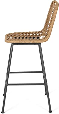 Great Deal Furniture Angela Outdoor Wicker Barstools (Set of 4), Light Brown and Black
