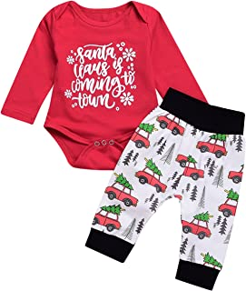 2 Pcs Baby Boy Girl Christmas Car Fall Clothes Letter Print Cute Rompers + Long Pants Christmas Cotton Pajama Outfit Set