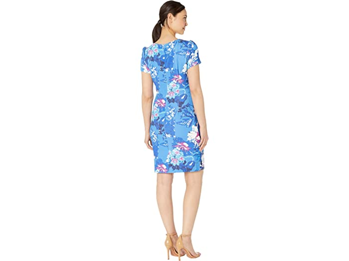 Adrianna Papell Floral Codo Manga Leral Drapeado Vestido De Vaina Blue Multi Dresses