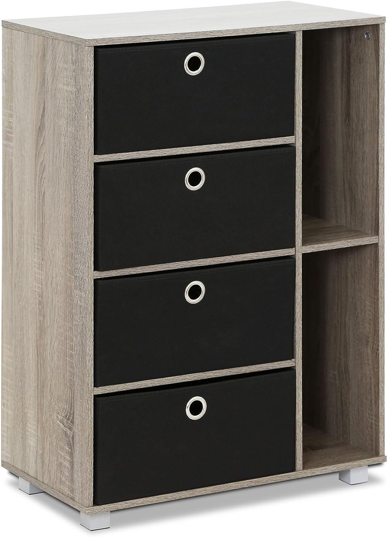 Furinno 11159GYW BK Multipurpose Storage Cabinet, French Oak Grey Black