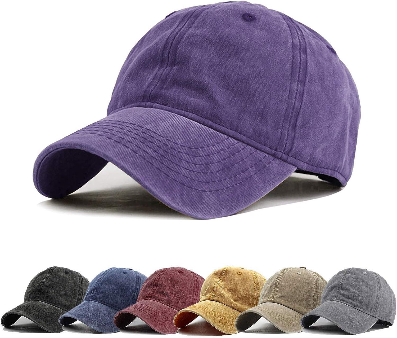 Walea Men Women Washed Distressed Twill Cotton Baseball Cap Vintage Adjustable Dad Hat