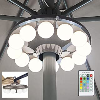 LUXSWAY Patio Umbrella Lights Battery Operated,12 Color Changing Outdoor Umbrella Light for Pole with 80Ft RF Remote,48 LE...