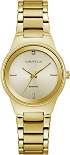 Caravelle Women's Gold-Tone Diamond Watch with Champagne Dial - 44P101