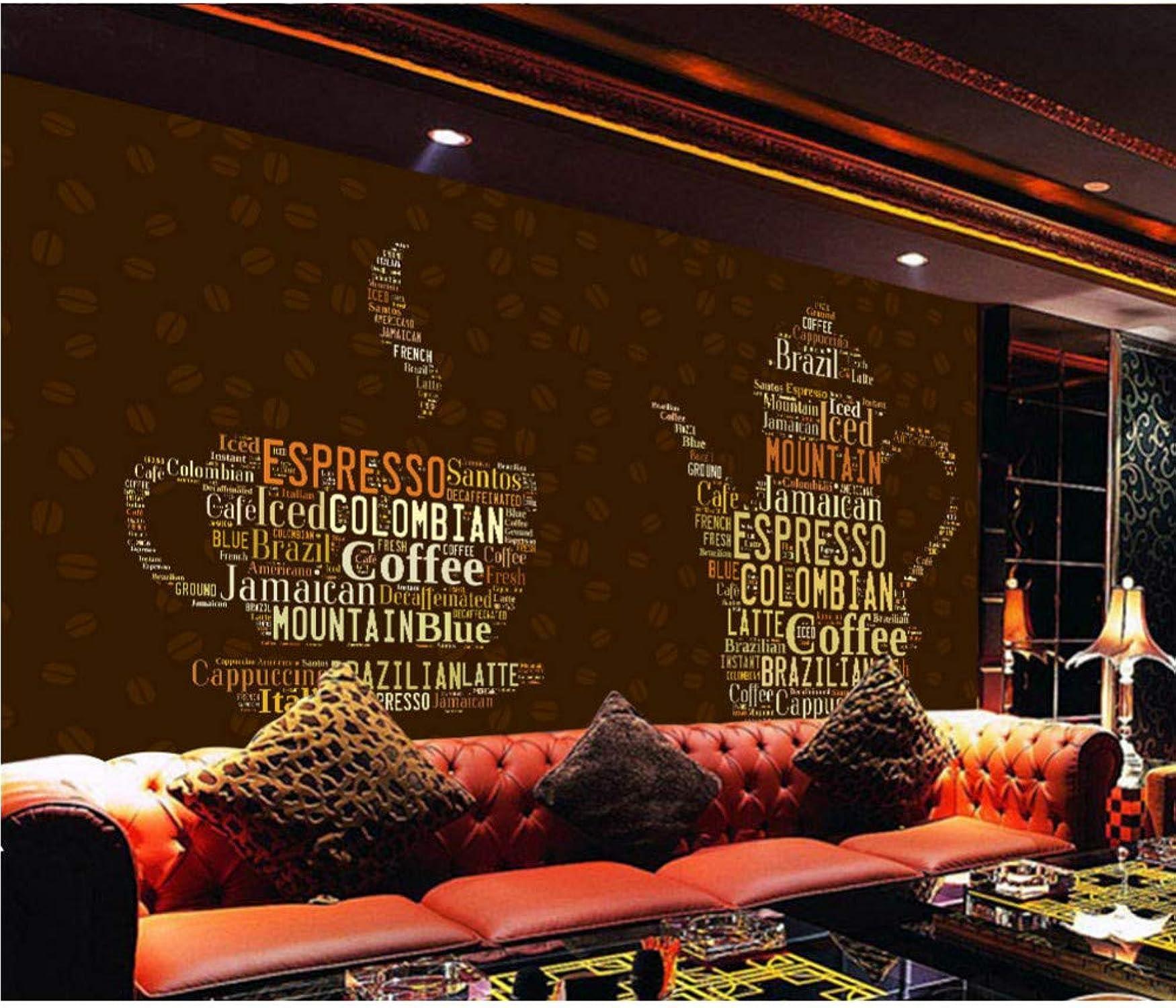 popular Vandelkt Mural De Parojo 3D 3D 3D Letras Inglesas Cup Wallpaper Para Coffee Cafe Tv Telón De Fondo Papel De Parojo 250X160Cm  hasta un 50% de descuento