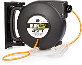 Iron Forge Cable Extension Cord Reel with 4 Electrical Power Outlets - SJTW Heavy Duty Orange Cable (14/3 Gauge, 45ft Length - Orange & Black)