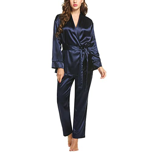 26fe72d65145 Hotouch Women s Satin Sleepwear Short Sleeve Button Down Embroidery Lace  Pajama Set S-XXL