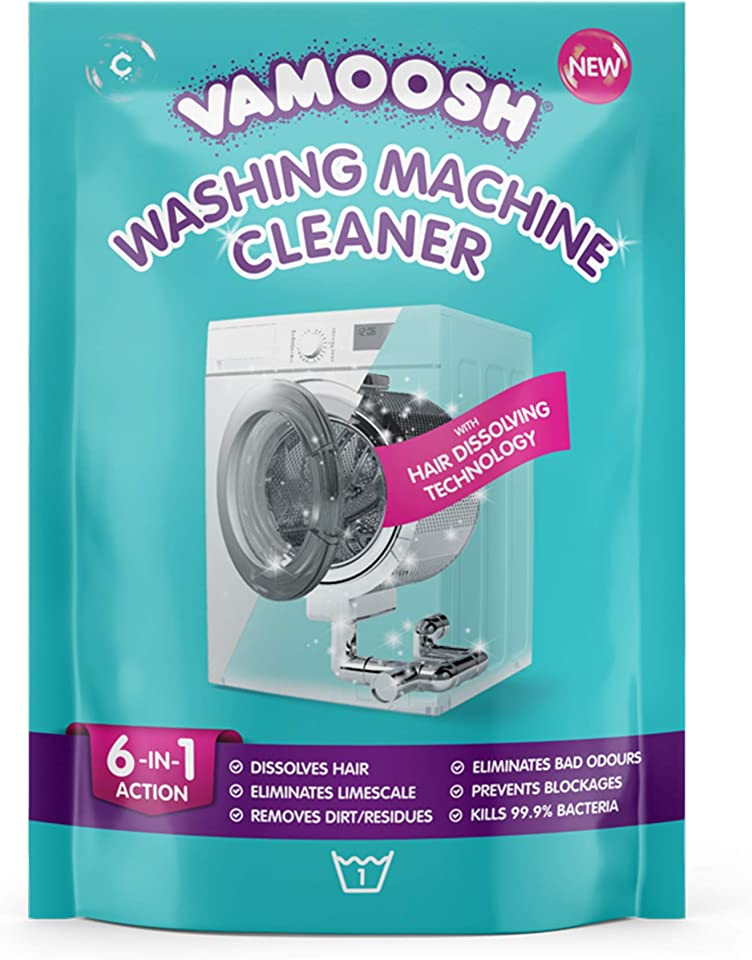 Vamoosh 6-in-1 Washing Machine Cleaner, Dissolves Hair, Eliminates Bad Odours, Removes Limescale, Deep Clean, Leaves Smelling Fresh, Antibacterial, Descales, 1 Sachet, 1 Wash