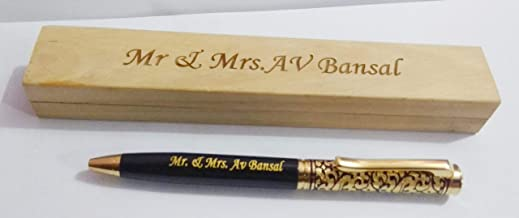 SMART WORLD CROWNED Customised Name Engraved Pen With Name Engraved Wooden Box-Best Gift