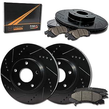 KT039481 E-Coated Slotted Drilled Rotors + Ceramic Pads Fits: 2011 11 2012 12 2013 13 Scion tC Max Brakes Front Elite Brake Kit