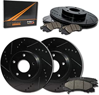 Max Brakes Front & Rear Elite Brake Kit [ E-Coated Slotted Drilled Rotors + Ceramic Pads ] KT008683 Fits: 2005-2013 Mazda 3