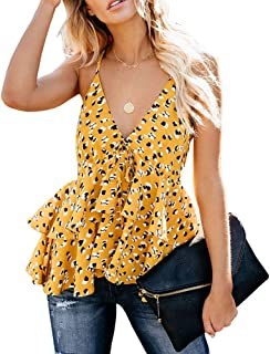 Womens Peplum Cami Tops Floral Strap V Neck Ruffle Hem Halter Blouse Shirt