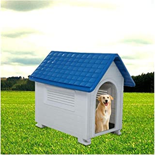 Outdoor Pet Dog House | Indoor Dog Kennel Plastic Waterproof Kennels Pet House Home Shelter for Dogs with Skylight (Blue 2)