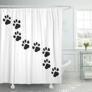 TOMPOP Shower Curtain Dog Paw Puppy Pawprint Trail Cat Cute Waterproof Polyester Fabric 72 x 72 Inches Set with Hooks