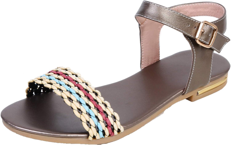 AmoonyFashion Women's Buckle Low-Heels PU Assorted color Open-Toe Sandals, BUSLS005423