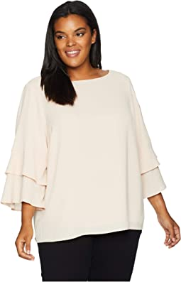 Plus Size 3 Tier Sleeve Textured Blouse