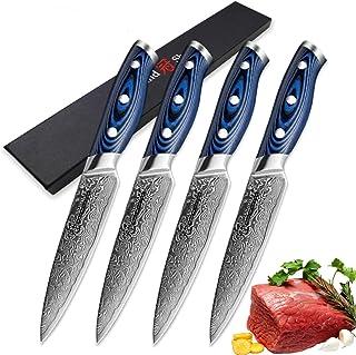 couteau Couteau à steak 4 pcs Couteaux de cuisine Damascus VG10 Japonais Damas Steel Utility Couteaux 67 Couches Meilleur ...