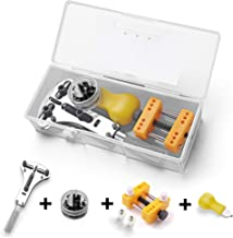 Watch Back Case Opener, Watch Battery Replacement Tool Kit for Watch Repair, 3 Jaw Type XL Tripod Wrench + Adjustable Holder + Opener Knife with Case