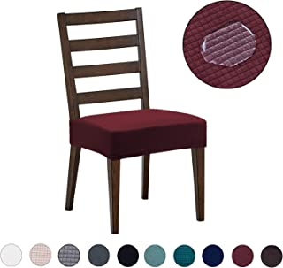 Dining Room Chair Covers(6 Pack) - Water Repellent,Easy to Install,High Stretch - Dining Room Chair Seat Slipcover/Protector/Shield for Dog Cat Pets,Burgundy