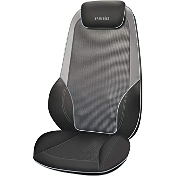 HoMedics ShiatsuMax 2.0 - Electric Heated Shiatsu Back Massager, Shoulder, Back and Upper Leg Support with Rolling Vibration for Deep Muscle Relief, Adjustable Headrest and Cushion Back Flap - Grey