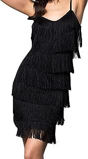 CHERYL CREATIONS Women's Short All-Over Fringe Flapper Sleeveless Comfortable Day/Night Mini Dress with Adjustable Bra Straps
