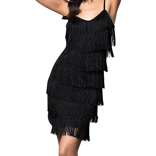 148f468223f Cheryl Creations Women's Short All-Over Fringe Flapper Sleeveless  Comfortable Day/Night Mini Dress