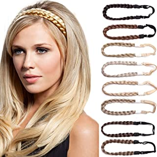 Twist Braided Hair Headbands 3 Strands Synthetic Hair Classic Chunky Wide Braids Elastic Stretch Plaited Braid Hairpiece Women Beauty Accessory 30g 4A dark brown