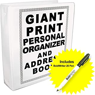 Giant Print Personal Organizer and Address Book with BoldWriter 20 Pen