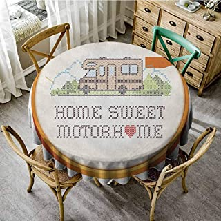 Lauren Russell Wrinkle Free Tablecloths Home Sweet Home Embroidery Hoop Cross Stitch Needlework Sewing Design Trailer Home Print Multicolor Waterproof Round Tablecloth Diameter 70