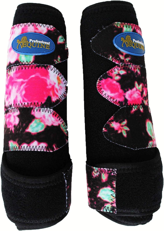 Professional Equine Medium Horse Sports Medicine Splint Boots Black Floral 4135A