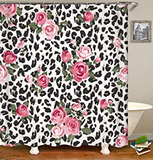 OCCIGANT Flower&Leopard Print Shower Curtain Set,Cute Pink Rose Mix Leopard Pattern Background,Durable Waterproof Polyester Fabric Bathroom Set with Hooks 72
