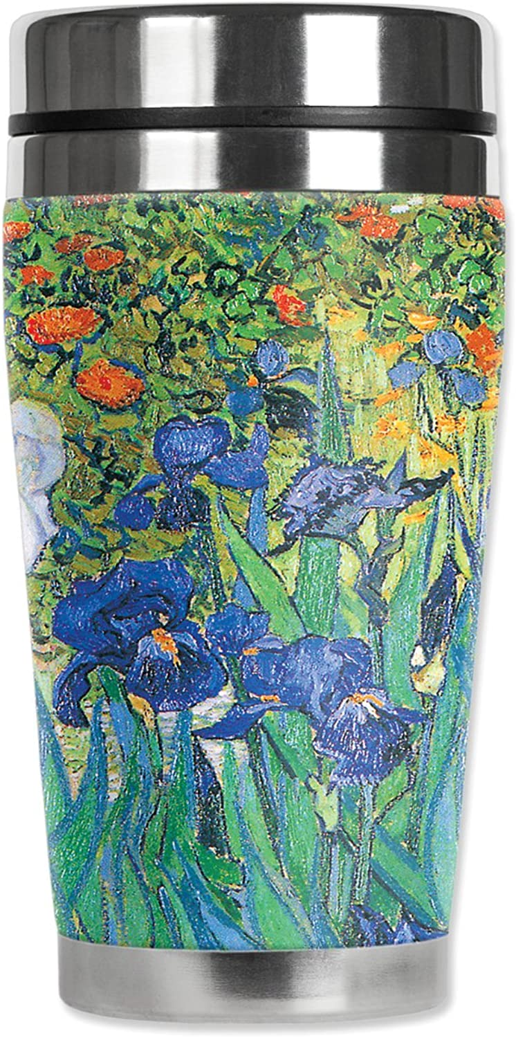 Mugzie Van Gogh Irises voyage Mug with Insulated Wetsuit Cover, 16 oz, noir by Mugzie