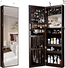 LANGRIA 10 LEDs Wall Door Mounted Jewelry Armoire Full-Length Mirror Cabinet Organizer with Spacious Storage, Mirror Size 13.5 in W x 46 in H, Brown