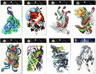 Long lasting and realistic temp tattoo stickers 8pcs mixes animal in a packages,including horse,phoenixes,wolf,colorful peacocks, tattoo