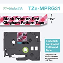 Brother P-Touch Embellish Print TZEMPRG31 Pattern Tape, Black on Red Gingham