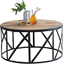 Living Room Furniture Metal 23.6 Inch Solid Wood Living Room Coffee Table End Table - Creative Simple Iron Art Metal Frame...