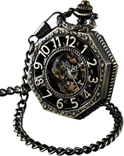 Skeleton Pocket Watch with Chain Bronze Octagon Case Steampunk Costume Railroad Style Mechanical Movement Hand Wind Up Reloj PW-221