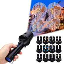2019 New Year Project Lights, LUXONIC Portable Handheld Flashlight and Projector Light 2 in 1 Decoration Battery Operated with 12 Animated Pattern Slides Tripod Holiday Projection Lamp