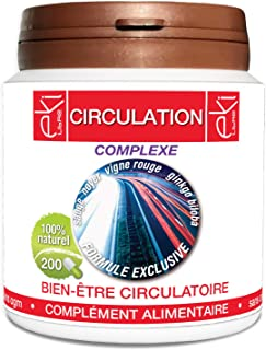 Complexe Circulation | Sauge | Noyer | Vigne Rouge | Ginkgo Biloba | Cyprés | 200 gélules | Bien Être Circulatoire | 250 m...