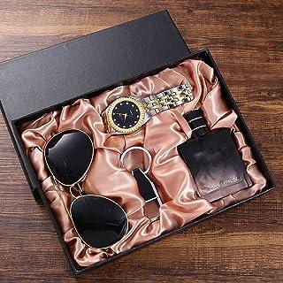 MGPLBYA Geschenk-Set Schöne Mode Trend All-Match-Geschenk-Set-Brille + Stahlband Quarzuhr + Parfüm-Flasche + Schlüsselbund...