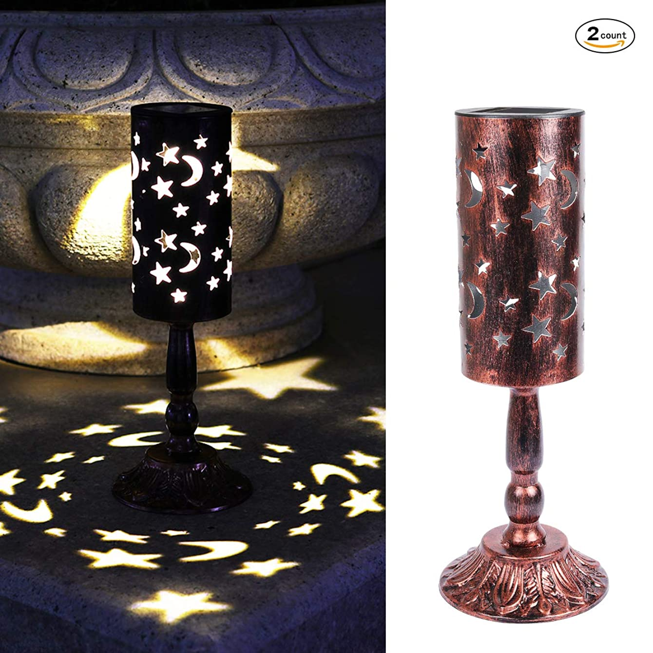 2 Pcs,Solar Candlestick Lights Retro Solar Table lamp for Indoor Outdoor Home Antique Table lamp,Solar Powered Lights Garden Yard Art Decor,The Beautiful Moon and Star Pattern