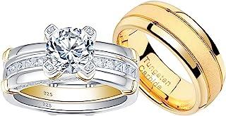 أطقم خاتم زفاف بلونجمي للرجال والنساء من الفضة الاسترلينية CZ لديه رجال التيتانيوم خاتم الزفاف الأزواج الذهب الأصفر حجم 5-12
