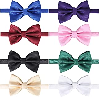 8 PACKS Elegant Adjustable Pre-tied bow ties for Men Boys in Different Colors