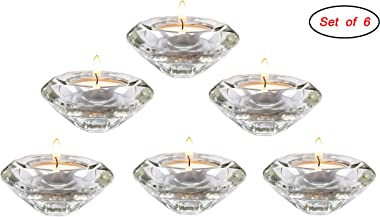 AiFanS Glass Tealight Holders Centerpiece,Crystal Candle Holders Decorative,Candlestickers for Table(Clear,7.5cm,Set of 6)