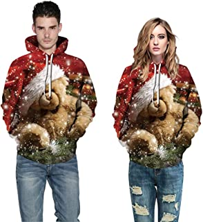 Couples Christmas Sweatshirts GREFER Stylish Cute Animal Printed 3D Sweaters Plus Size Hoodies Pullover for Women Men