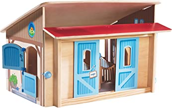 HABA Little Friends Folding Wooden Horse Stable Riding School Play Set with 3 Stalls, Sliding Doors Feeding Trough and Washing Station