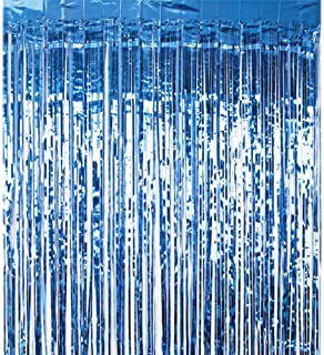 Beauenty 2pcsMetallic Tinsel Foil Shimmer Fringe Rain Curtains Backdrop Curtain for Photo Background Decorations, Shimmer...