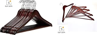 Star Work Solid Beige Wood Suit Hangers with Non Slip Bar and Precisely Cut Notches - 360 Degree Swivel Chrome Hook - Walnut Finish Super Sturdy and Durable Wooden Hangers (30)