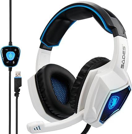 Sades, Spirit Wolf 7.1,cuffie da gaming, stereo surround sound, con USB cablato, isolamento acustico, microfono, controllo del volume e luci a LED per PC (colore nero e rosso) White - Trova i prezzi più bassi