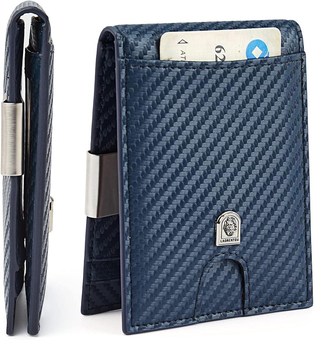 LAORENTOU Mens Slim Minimalist Wallets with Money Clip RFID Blocking Bifold Wallets for Men Card Holder Front Pocket Gift Box (Alaska Blue)