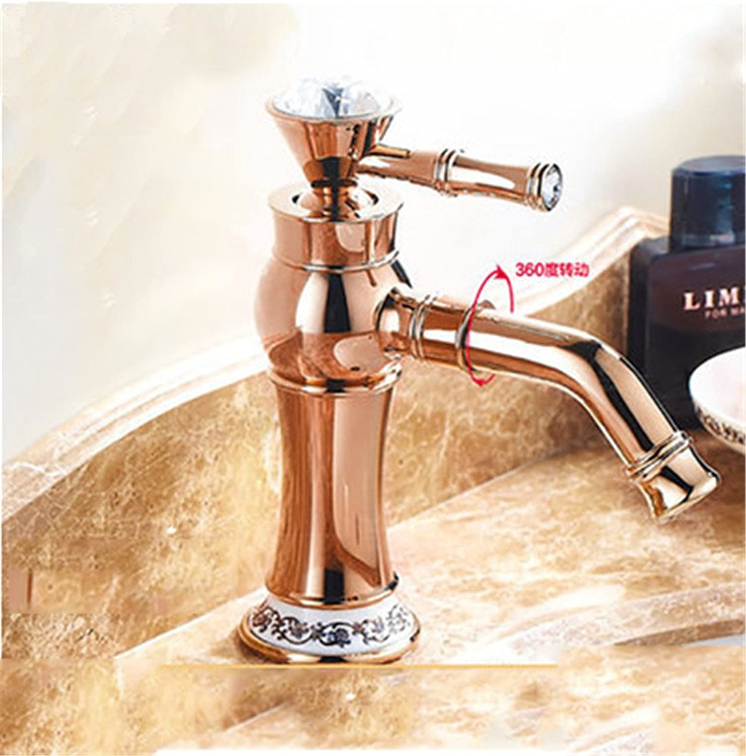 LHbox Basin Mixer Tap Bathroom Sink Faucet Continental antique hot and cold water faucets, copper crystal retro single hole basin mixer,H- base bluee-tiled